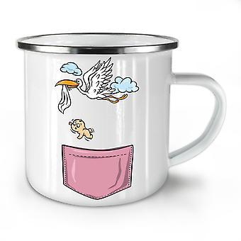 Stork Baby Newborn Funy NEW WhiteTea Coffee Enamel Mug10 oz | Wellcoda