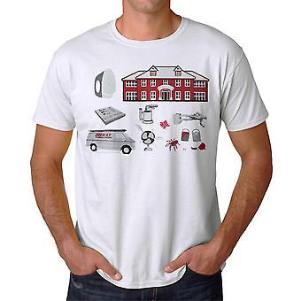 Maison seule des pièges dessiner T-shirt blanc hommes