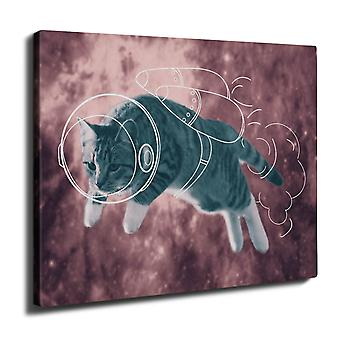 Cat Astronaut Funny Wall Art Canvas 40cm x 30cm | Wellcoda
