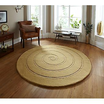 Spiral Gold Gold Circle Rugs Plain/Nearly Plain Rugs