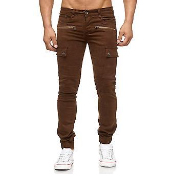 Men's Cargo Jogging Denim Jeans Pants Chino Style Zipper Biker Knee Tapered Leg