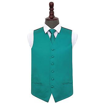 Teal Plain Satin Wedding Waistcoat & Tie Set
