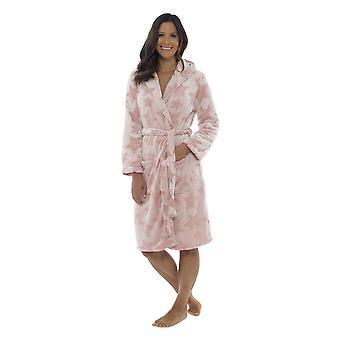 Foxbury Womens Star Embossed Fleece Hooded Wrap Nightwear Bathrobe