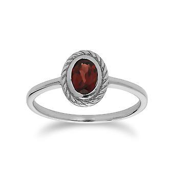 Klassische Oval Granat Seil Design Ring in 925 Sterling Silber 270R053904925