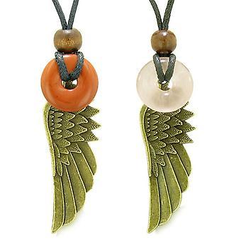 Guardian Angel Wings maaginen Amulets rakkaus pari parhaat ystävät punainen jaspis Ruusukvartsi donitsi kaulakoru