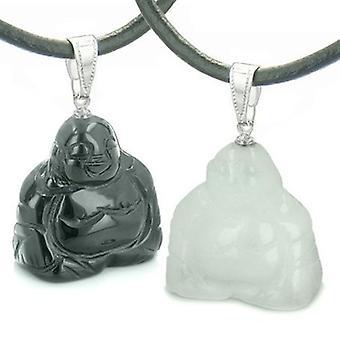 Bouddhas heureux chanceux doubles amour Couples définir de meilleures amies amulettes magiques énergie Onyx Jade colliers