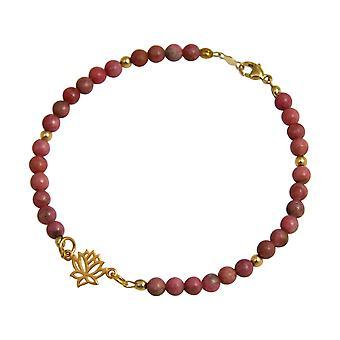 Gemshine armbånd sølv forgyldt Lotus blomst ædelsten pink YOGA