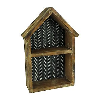 Rustic Wood and Tin House Shaped Display Shelf