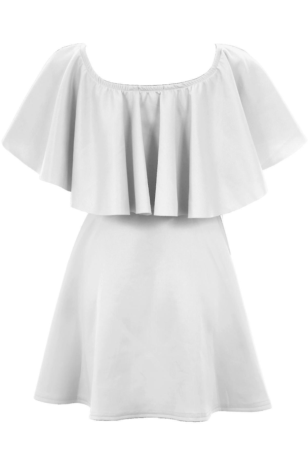Ladies Celeb Inspired Off Shoulder Frill Women's Flared Summer Swing Short Dress