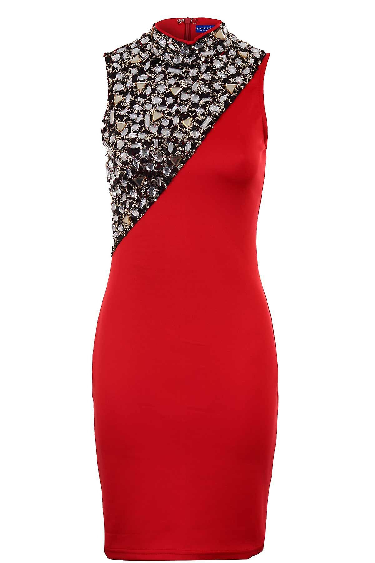 Ladies Sleeveless Zip Back Jewelled Sequin Contrast Women's Bodycon Short Dress
