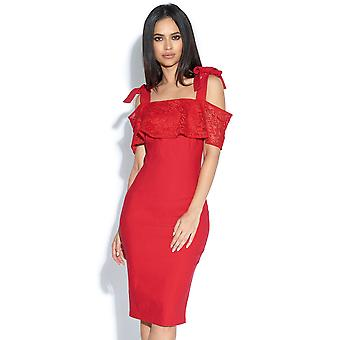 Tammie Off The Shoulder Red Lace Detail Dress