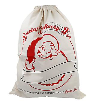 TRIXES Large White Christmas Santa Claus Post Office String Sack