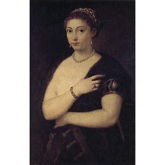 Dame in een bont mantel, Peter Paul Rubens, 60x40cm