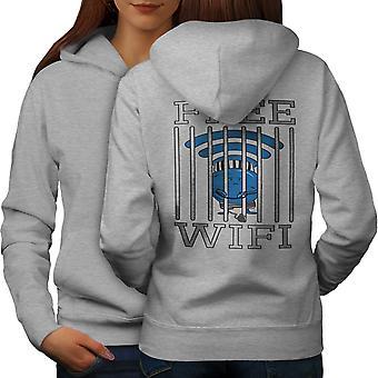 Wifi Conection Jail Naiset GreyHoodie takaisin | Wellcoda, mitä sinä olet?