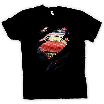 Mens T-shirt - New Super Man Costume - Superhero Ripped Design