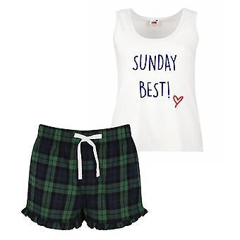 Domenica Best pigiama Ladies Tartan Frill pigiama corto Set rosso blu o verde blu