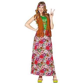 Womens 1970-talet Happy Hippy Fancy Dress kostym