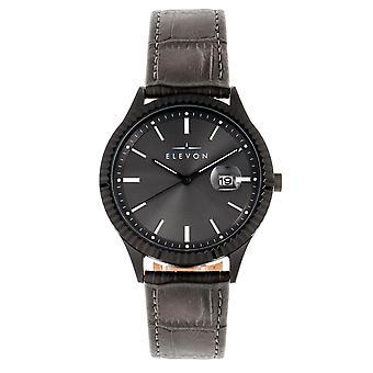 Elevon Concorde leder-Band Watch w/date-zwart/brons