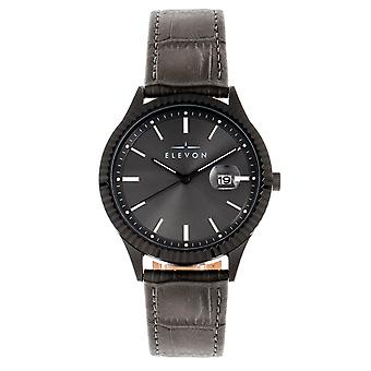 Elevon Concorde Leather-Band Watch w/Date - Black/Gunmetal