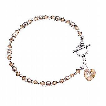 Valentine Jewelry Gift To Your Love One Heart Charm Crystal Bracelet
