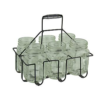 6 Piece Clear Glass Jar Mugs in Black Metal Holder Set
