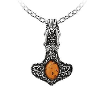 Αλχημεία Amber δράκος Thorhammer κολιέ