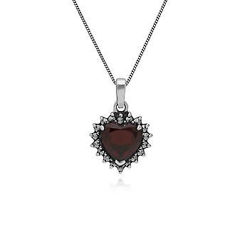 Art Deco Style Heart Garnet & Marcasite Halo Pendant Necklace in 925 Sterling Silver 214P301203925