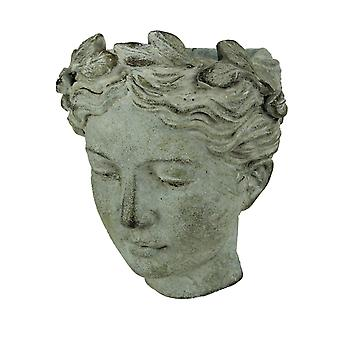 Distressed Cement Classic Greek Lady Head Indoor/Outdoor Hanging Planter