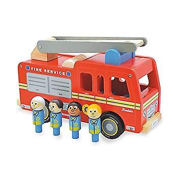 Indigo Jamm Freddie brandweerwagen, klassieke houten speelgoed hulpdiensten voertuig met afneembare dak en brandweerlieden