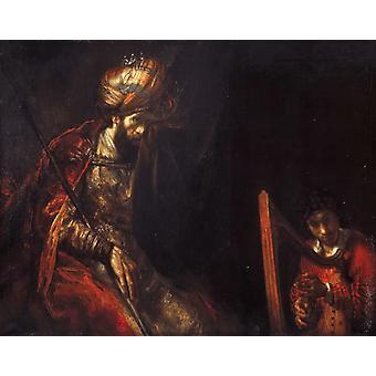 David speelt de harp voor Saul, Rembrandt, 50x40cm