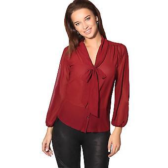 KRISP Womens se genom chiffon blus fluga topp Långärmad Smart skjorta