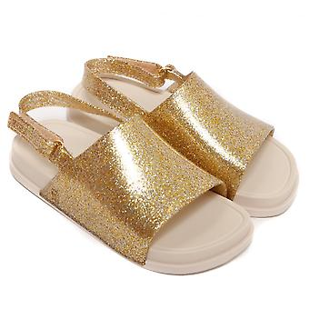 Melissa Shoes Mini Beach Slide Sandal, Gold Glitter