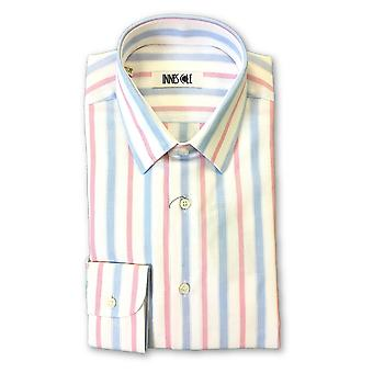 Ingram shirt in white/pink/blue stripe pattern