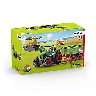 Schleich 42379 Bauernhof Leben Traktor mit Anhänger-Spielzeug