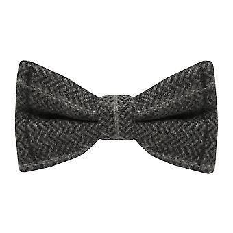 Luxe grafiet grijs visgraat Check Tweed vlinderdas
