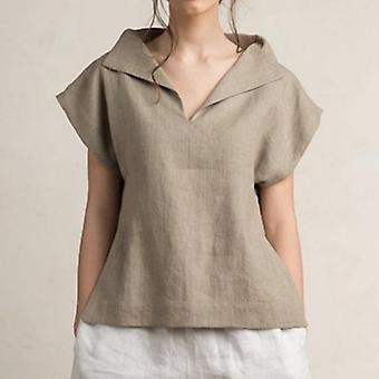 V-hals kortærmet skjorter casual tunika