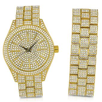 Full Iced Out Bling Uhr Armband Set - gold