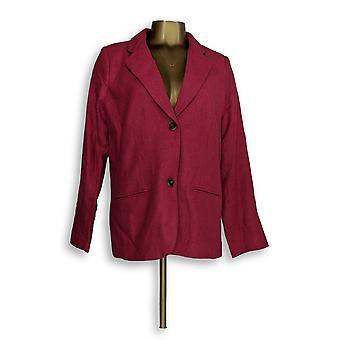 Isaac Mizrahi Live! Mujeres's Blazer Herringbone Notch Collar Rosa A237864