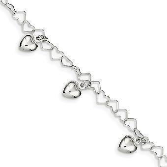 925 Sterling Silver Dangle Polished Fancy Lobster Closure Dangling Love Heart Bracelet 6 Inch Lobster Claw