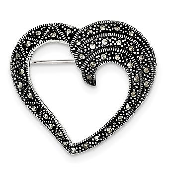925 Sterling Silver Textured Marcasite Love Heart Pin Jewelry Gifts for Women