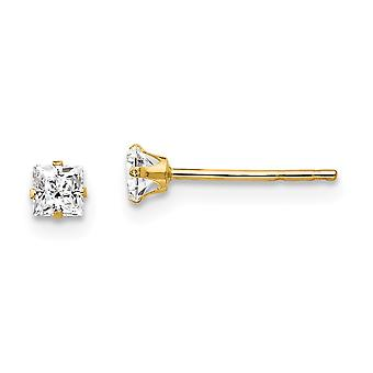 14k Yellow Gold Polished Cubic Zirconia Post Earrings