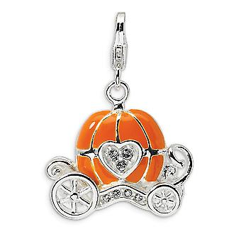 925 Sterling Silver Polished Rhodium plated Fancy Lobster Closure 3 D Enameled Carriage With Lobster Clasp Charm Pendant
