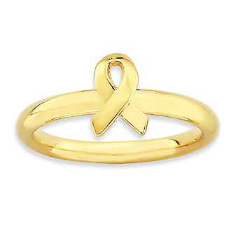 2.5mm 925 Sterling Silver Polished Stackable Expressions Gold-Flashed Awareness Ribbon Ring - Ring Size: 5 to 10