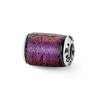 925 Sterling Silver finish Reflections Purple Dichroic Glass Barrel Bead Charm Pendant Necklace Jewelry Gifts for Women