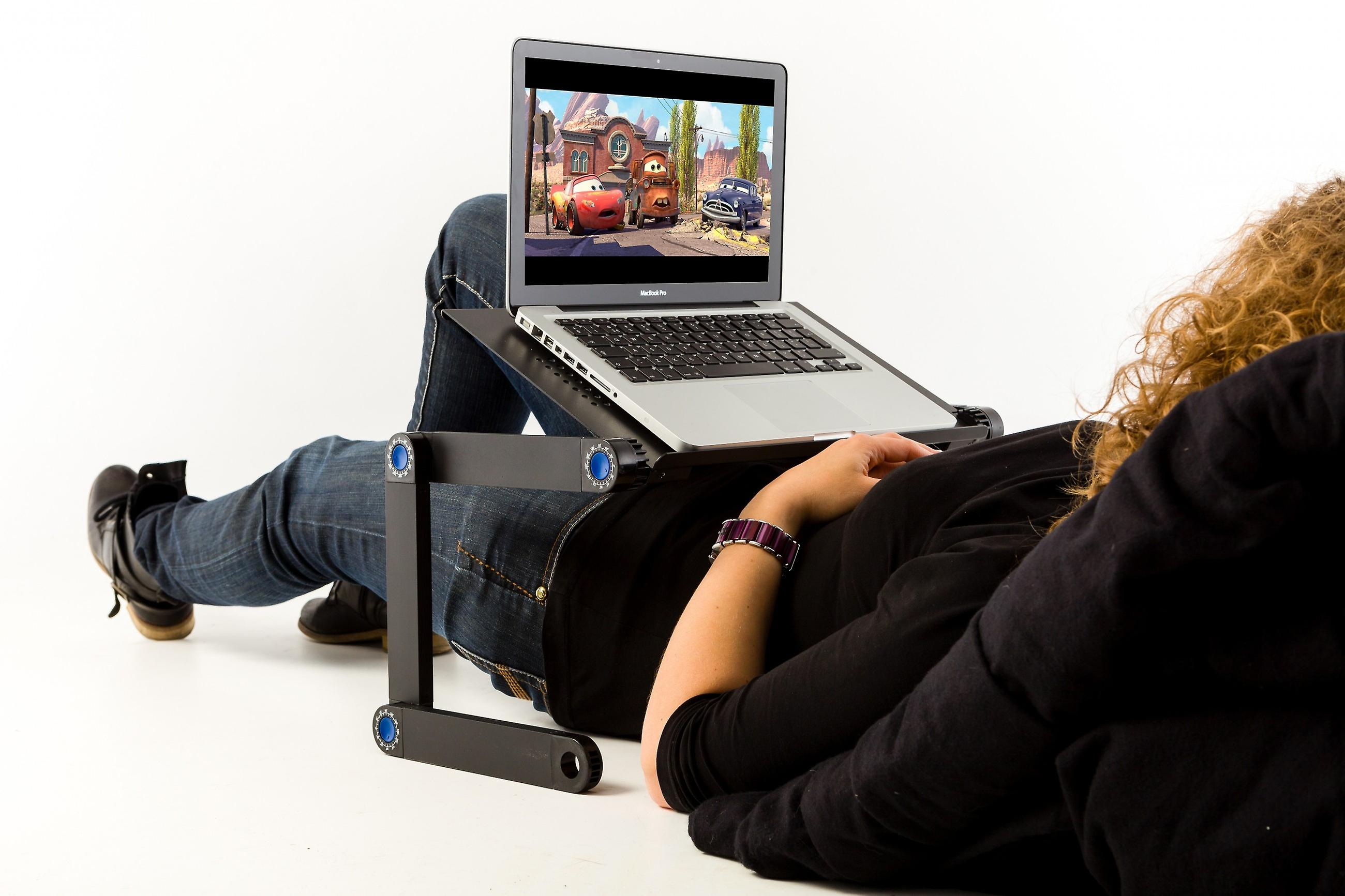 TECHNOSMART laptop stand foldable, height-adjustable laptop table for ergonomic work, comfortable handling for bed, sofa, black, 54 x 27 x 5 cm