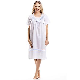 Camille Classic niebieska kropka Krótki rękaw Biała Koszula nocna
