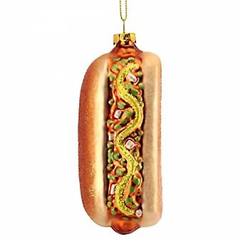 Gisela Graham Painted Glass Hot Dog Decoration