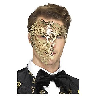 Deluxe Metall filigrane Phantom Maske, Gold Fancy Kleid Zubehör