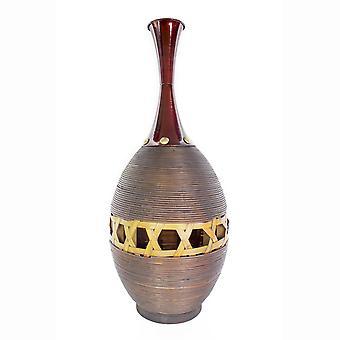 Rojo cobre decorativo y oro Spun Bambú con florero de metal