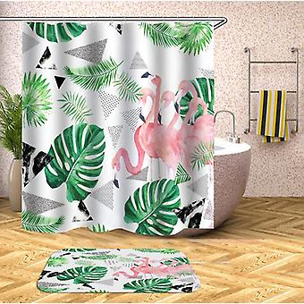 Flamingo And Tropical Leaves Shower Curtain